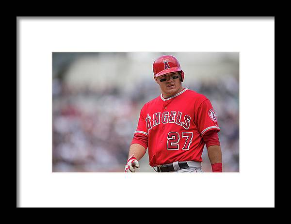 Mike Trout Framed Print featuring the photograph Mike York by Rob Tringali