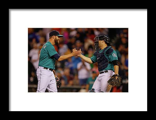 Baseball Catcher Framed Print featuring the photograph Mike Zunino and Tom Wilhelmsen by Otto Greule Jr