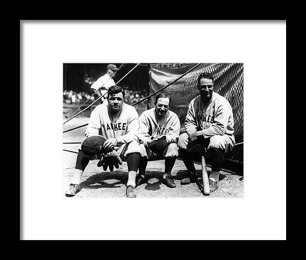 American League Baseball Framed Print featuring the photograph Miller Huggins, Lou Gehrig, and Babe Ruth by Transcendental Graphics