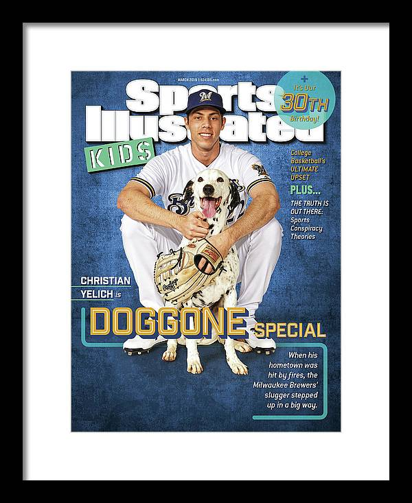 Portrait Framed Print featuring the photograph Milwaukee Brewers Christian Yelich, Sports Illustrated for Kids Cover by Sports Illustrated