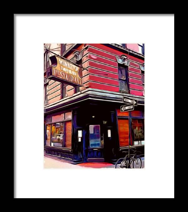 Mineta Tavern Framed Print featuring the mixed media Minetta Tavern Bicycle by Bellino