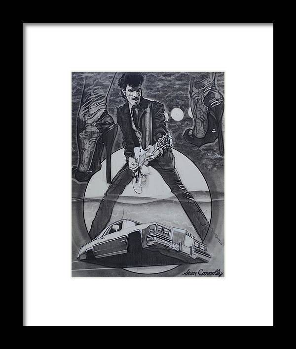 Charcoal Pencil Framed Print featuring the drawing Mink DeVille by Sean Connolly