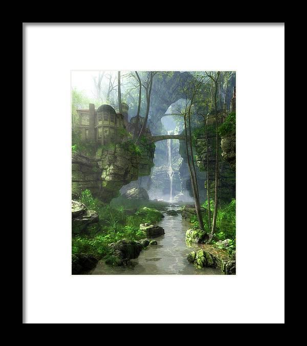 Fantasy Framed Print featuring the digital art Mist Valley by Cynthia Decker