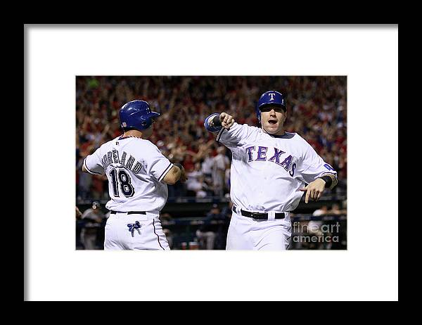 Playoffs Framed Print featuring the photograph Mitch Moreland, Josh Hamilton, and Vladimir Guerrero by Elsa