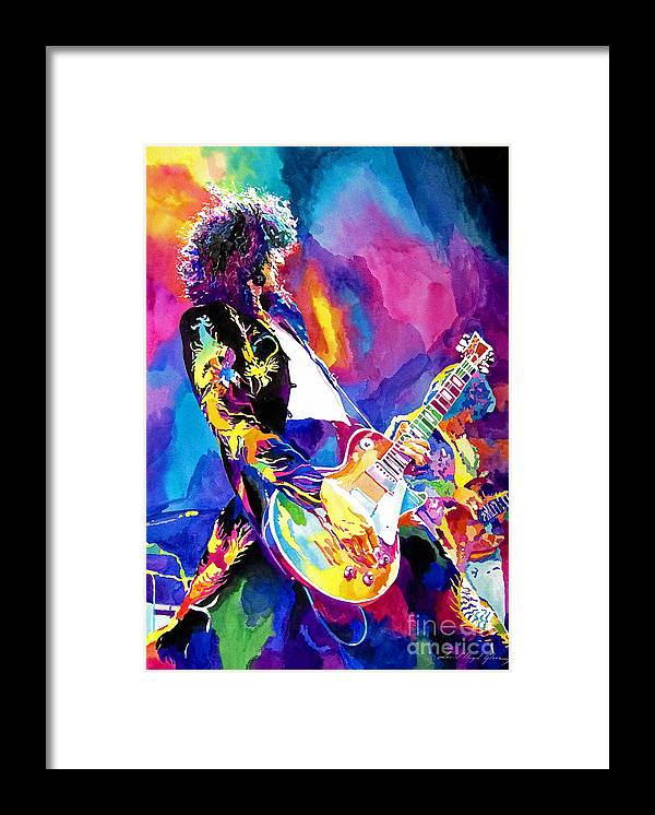 Jimmy Page Artwork Framed Print featuring the painting Monolithic Riff - Jimmy Page by David Lloyd Glover