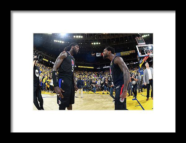 Playoffs Framed Print featuring the photograph Montrezl Harrell and Patrick Beverley by Andrew D. Bernstein