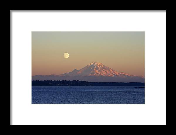 3scape Framed Print featuring the photograph Moon Over Rainier by Adam Romanowicz