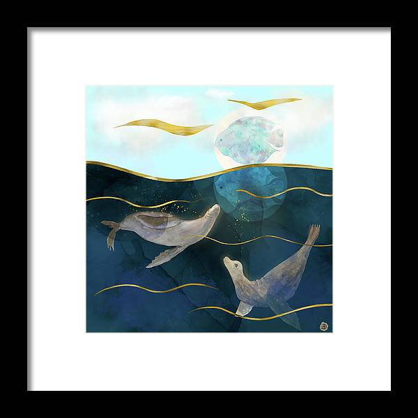 Global Warming Framed Print featuring the digital art Moonlight Mirage - Sea Lions Dream by Andreea Dumez
