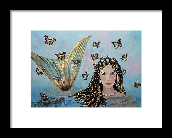 Mermaid Framed Print featuring the painting More Precious Than Gold by Linda Queally