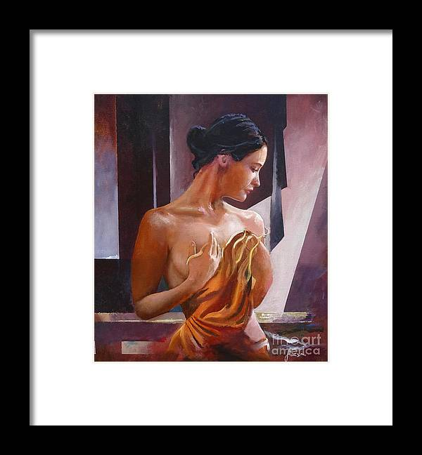Female Figure Framed Print featuring the painting Morning Beauty by Sinisa Saratlic