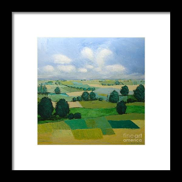 Landscape Framed Print featuring the painting Morning Calm by Allan P Friedlander