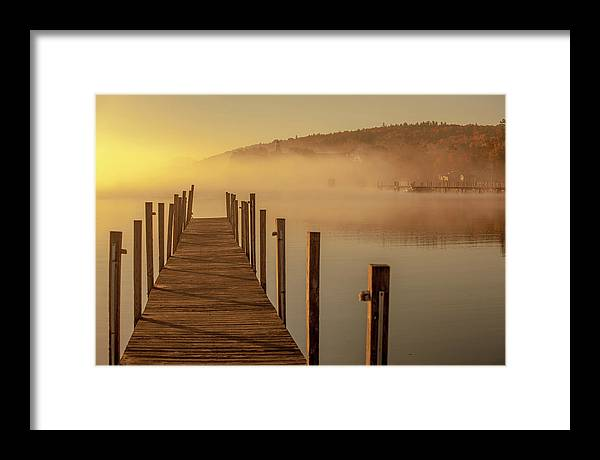 Morning Framed Print featuring the photograph Morning On The Lake Dockside by Trevor Slauenwhite