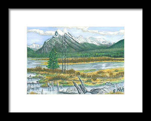 Mountains And Stream Framed Print featuring the painting Mount Rundle Canadian Rockies by Dan Bozich