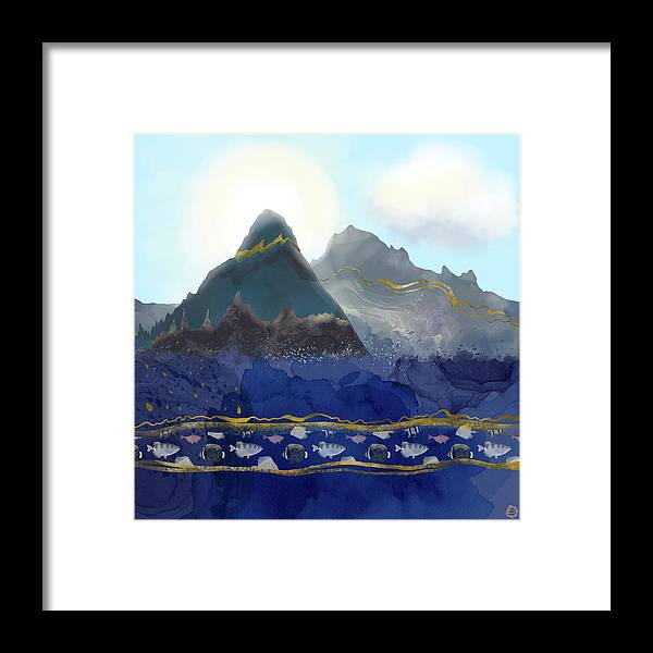 Nature Framed Print featuring the digital art Mountains Meet the Ocean by Andreea Dumez