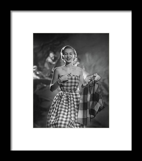 Fashion Framed Print featuring the photograph Mrs. William McManus Wearing Gingham-Check by Ted Croner