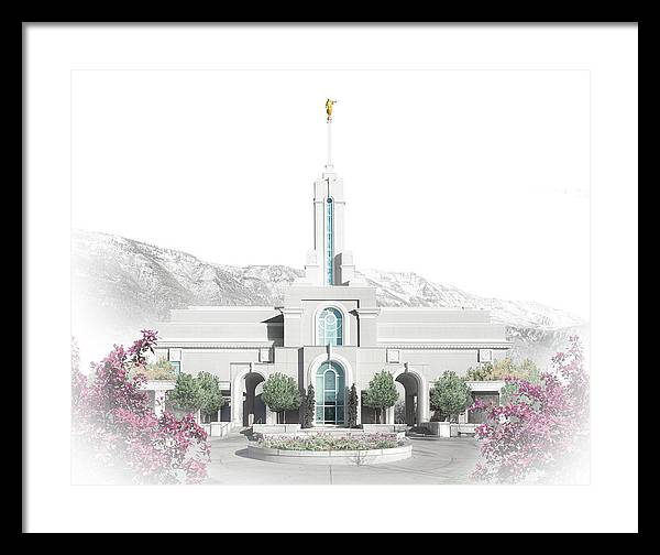 Timanogos Framed Print featuring the digital art Mt. Timpanogos Temple - Celestial Series by Brent Borup