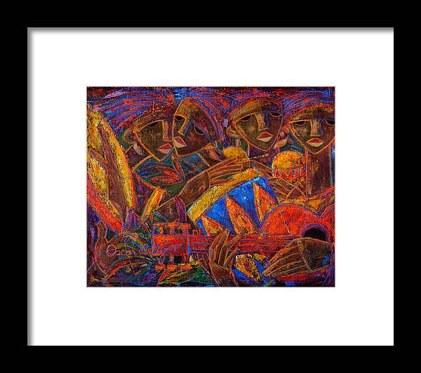 Puerto Rico Framed Print featuring the painting Musas Del Caribe by Oscar Ortiz