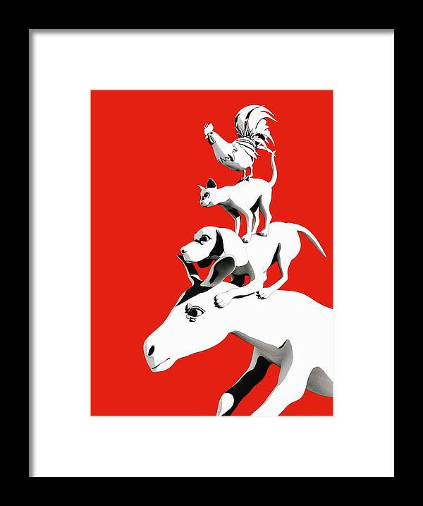 Donkey Framed Print featuring the digital art Musicians of Bremen_red by Heike Remy