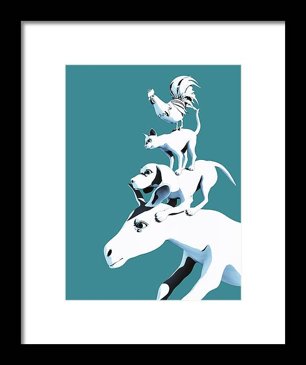 Donkey Framed Print featuring the digital art Musicians of Bremen_teal by Heike Remy