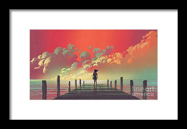 Illustration Framed Print featuring the painting My Dream Place by Tithi Luadthong