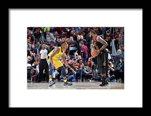 Playoffs Framed Print featuring the photograph Myles Turner and Lebron James by David Liam Kyle