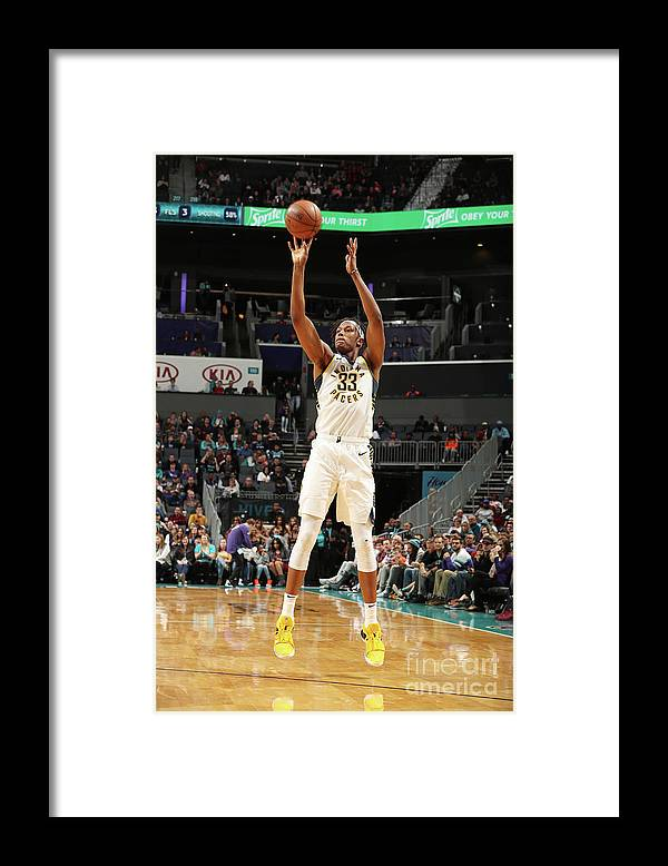 Nba Pro Basketball Framed Print featuring the photograph Myles Turner by Kent Smith