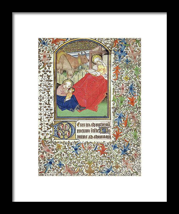 Nativity Framed Print featuring the painting Nativity, from the Book of Hours by French School