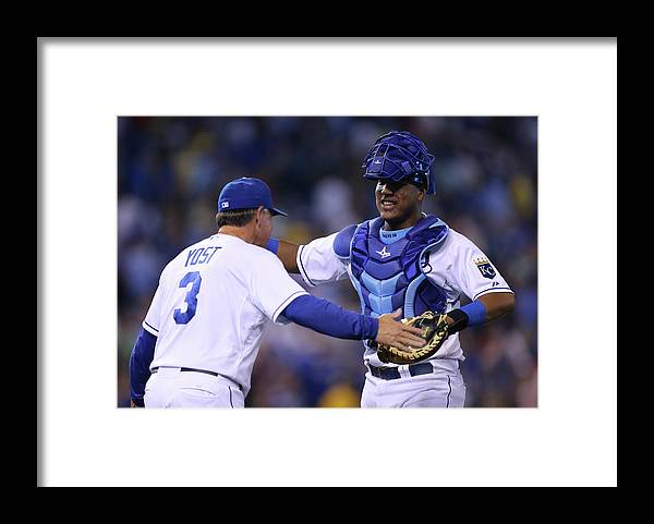 Salvador Perez Diaz Framed Print featuring the photograph Ned Yost by Ed Zurga