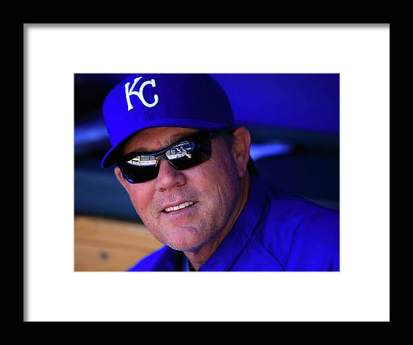 American League Baseball Framed Print featuring the photograph Ned Yost by Jamie Squire