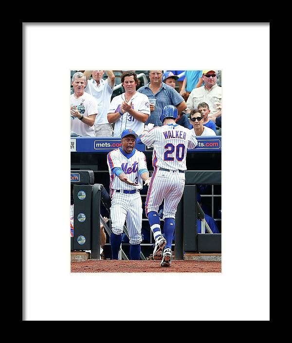American League Baseball Framed Print featuring the photograph Neil Walker and Curtis Granderson by Jim Mcisaac