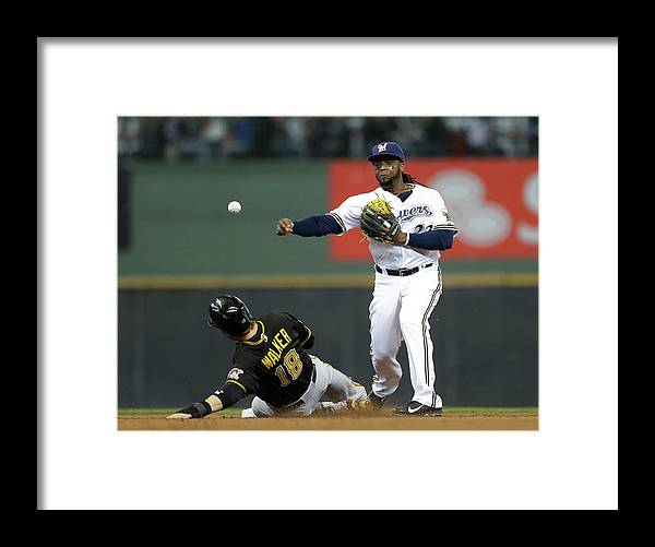 2nd Base Framed Print featuring the photograph Neil Walker and Rickie Weeks by Jeffrey Phelps