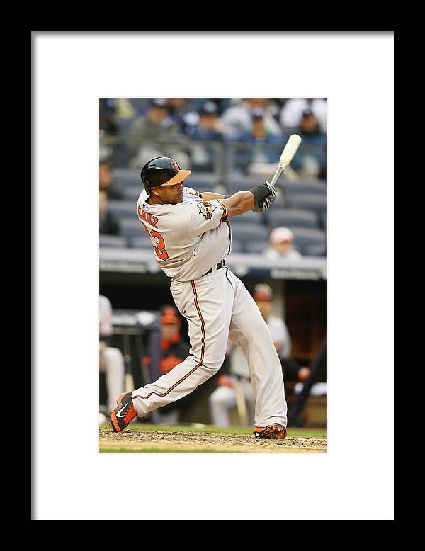American League Baseball Framed Print featuring the photograph Nelson Cruz by Al Bello
