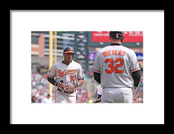 American League Baseball Framed Print featuring the photograph Nelson Cruz And Adam Jones by Leon Halip