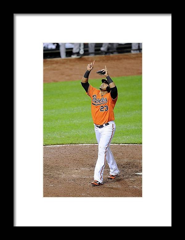 American League Baseball Framed Print featuring the photograph Nelson Cruz by Greg Fiume