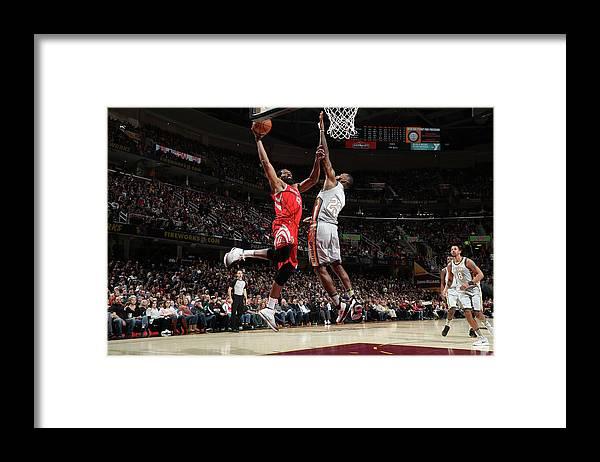 Nba Pro Basketball Framed Print featuring the photograph Nene Hilario and Lebron James by Joe Murphy