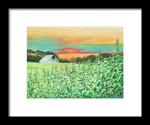 Landscape Framed Print featuring the painting Neola Corn by Arthur Fix