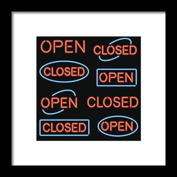 Icon Set Framed Print featuring the drawing Neon 'Open' and 'Closed' Sign Set by Bortonia