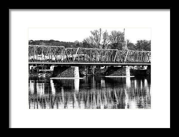 Vintage New Hope Bridge Framed Print featuring the photograph New Hope Lambertville Bridge in Pennsylvania Monochrome by John Rizzuto