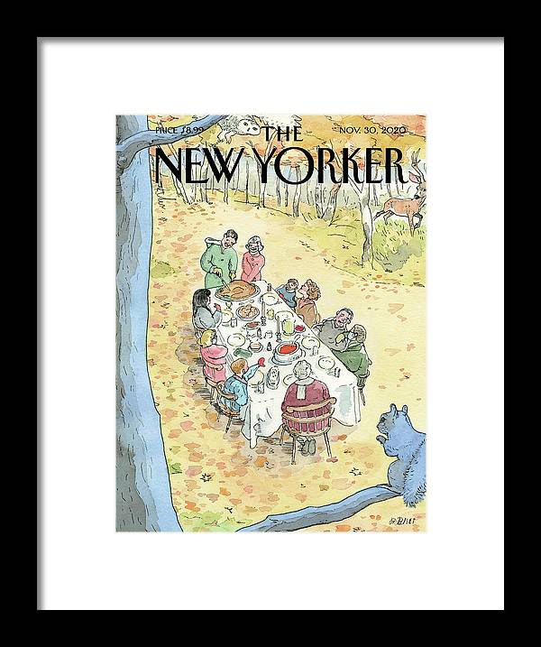 Thanksgiving Framed Print featuring the painting New Traditions by Barry Blitt