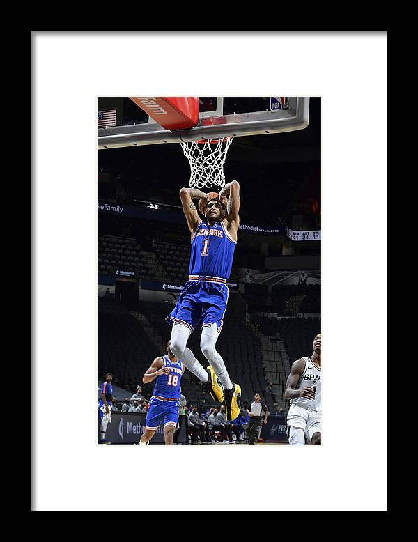 Nba Pro Basketball Framed Print featuring the photograph New York Knicks v San Antonio Spurs by Logan Riely