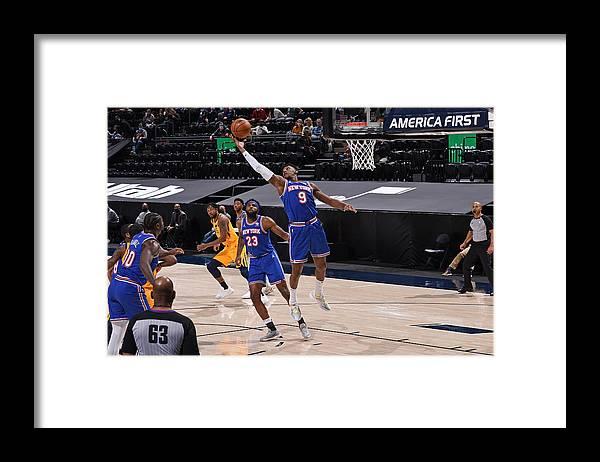 Nba Pro Basketball Framed Print featuring the photograph New York Knicks v Utah Jazz by Garrett Ellwood