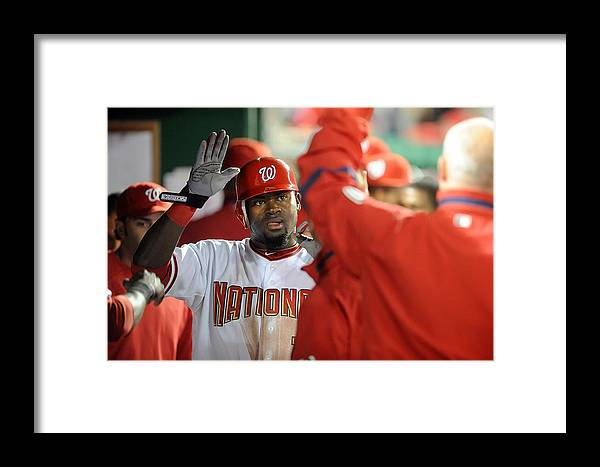 People Framed Print featuring the photograph New York Mets V Washington Nationals by Greg Fiume