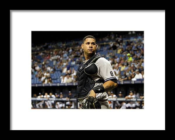 Baseball Catcher Framed Print featuring the photograph New York Yankees v Tampa Bay Rays by Joseph Garnett Jr.