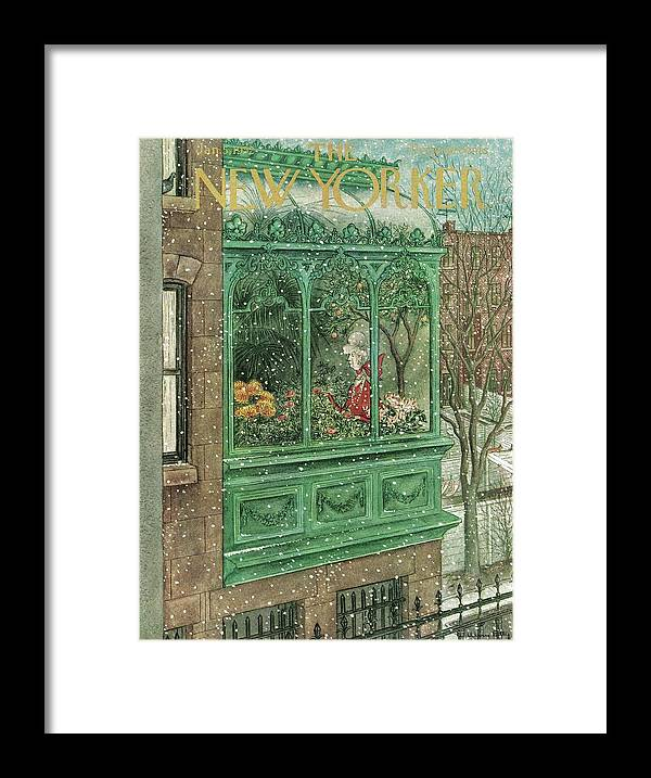 New York Framed Print featuring the painting New Yorker January 5, 1952 by Mary Petty