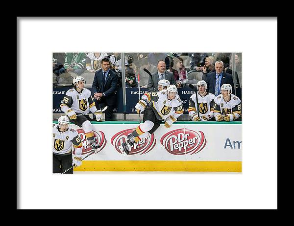 Vegas Golden Knights Framed Print featuring the photograph NHL: DEC 09 Golden Knights at Stars by Icon Sportswire
