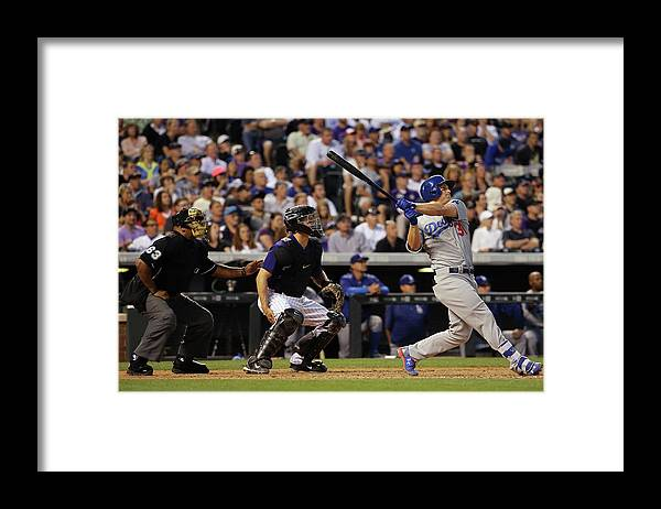 Baseball Catcher Framed Print featuring the photograph Nick Hundley and Joc Pederson by Doug Pensinger