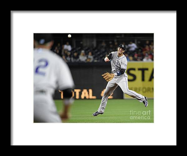 Second Inning Framed Print featuring the photograph Nick Hundley and Troy Tulowitzki by Denis Poroy