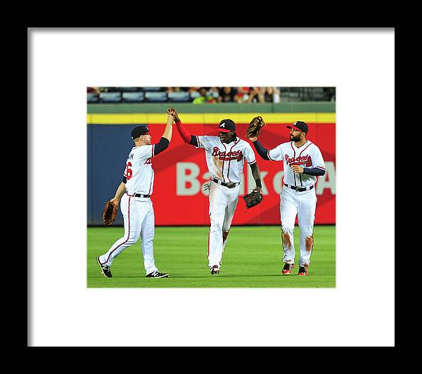 Atlanta Framed Print featuring the photograph Nick Markakis and Cameron Maybin by Scott Cunningham