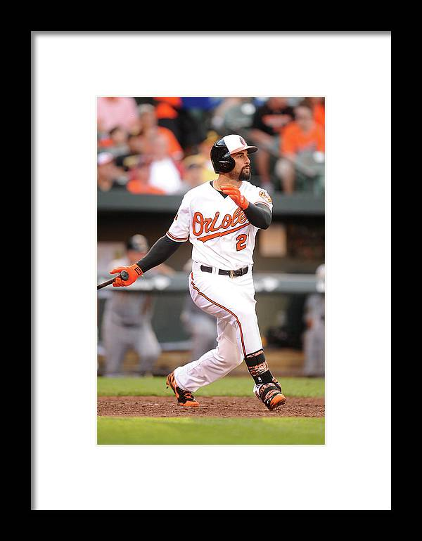 American League Baseball Framed Print featuring the photograph Nick Markakis by Mitchell Layton