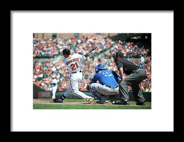 American League Baseball Framed Print featuring the photograph Nick Markakis by Rob Tringali